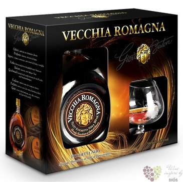 "Vecchia Romagna "" Etiqueta nera "" glass set ancien Italian wine brandy 38% vol.0.70 l"