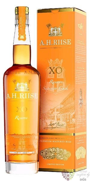 "A.H. Riise "" XO reserve single barrel "" gift box aged Caribbean rum 40% vol.  0.70 l"