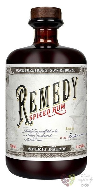 "Remedy "" Spiced "" flavored Caribbean rum 41.5% vol.  0.05 l"