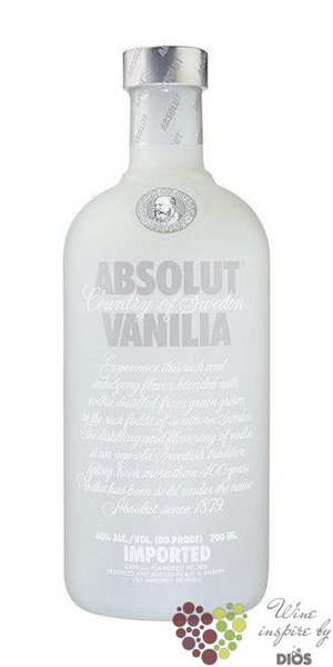 "Absolut flavor "" Vanilia "" country of Sweden Superb vodka 40% vol.    0.05 l"