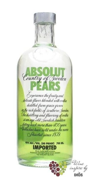 "Absolut "" Pears "" flavored country of Sweden Superb vodka 40% vol.    1.00 l"