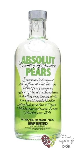 "Absolut "" Pears "" flavored country of Sweden Superb vodka 40% vol.    0.70 l"