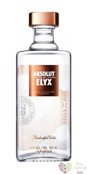 "Absolut "" Elyx "" ultra premium  single estate Swedish vodka 42.3% vol.   3.00 l"