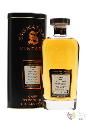 "Cambus 1991 "" Signatory vintage cask strength "" aged 23 years single grain whisky 54.1%vol.  0.70 l"