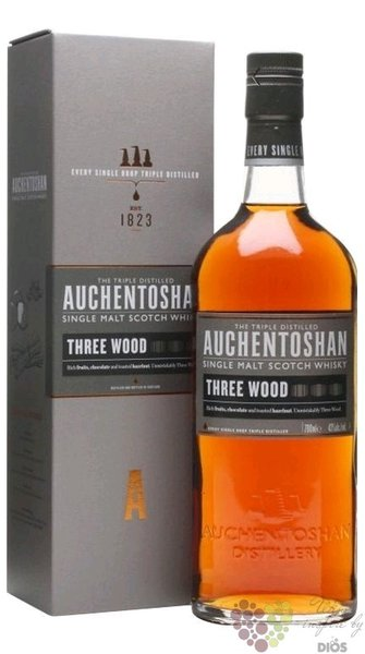 "Auchentoshan "" Three wood "" triple distilled single malt Lowland whisky 43% vol.  0.70 l"