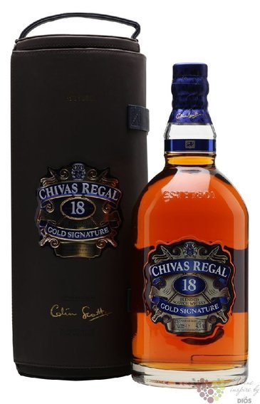 "Chivas Regal "" Gold Signature "" aged 18 years leather box premium Scotch whisky40% vol.  1.75 l"