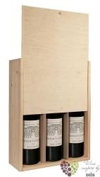 Dřevěná kazeta s posuvným víkem na 3 lahve typu Bordeaux