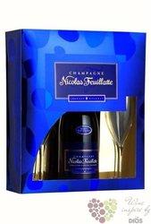 """Nicolas Feuillatte blanc """" Réserve Particuliére """" brut 2 glass gift pack Champagne Aoc  0.75 l"""