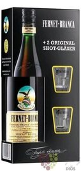 "Branca "" Fernet Original "" glass set herbal liqueur by Fratelli Branca 39% vol.0.70 l"