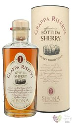 "Grappa di Barbera riserva "" Sherry wood finish "" by Antica distilleria Sibona 44% vol.   0.50 l"