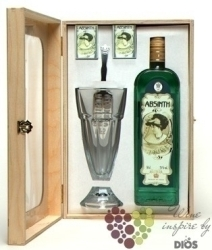"Absinth "" Absinth set "" wood box by Fruko Schulz distillery 70% vol.     0.50 l"