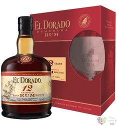 "El Dorado "" Luxury cask aged "" glass set 12 years old rum of Guyana by Demerara40% vol. 0.70 l"