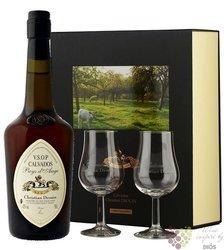 """Christian Drouin """" Réserve des Fiefs """" glass set Calvados do Pays d´Auge 42% vol.  0.70 l"""
