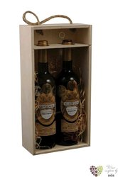 Nature wood box with glass for 2 bottles