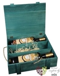 Wood box blue for 3 bottles with fillings