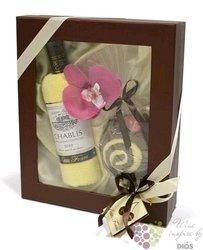 Dárkový balíček francouzské víno, květina a dort - ručníky