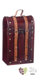 """Wood box """" Rustic """" for 1 bottle with leather belts"""