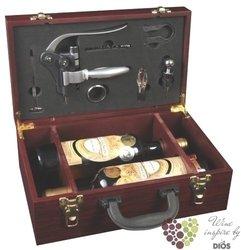 Dřevěný box na 2 láhve Mahagon deluxe + otvírák