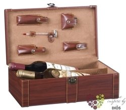 leather box for 2 bottle of wine with accessory set