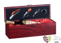 """Wood box """" Mahagon & Satin """" for 1 bottle of wine with accessory set"""