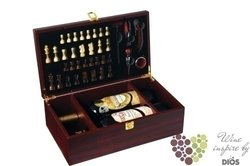 """Wood box """" Mahagon """" for 2 bottles of wine with chess and accessory set"""