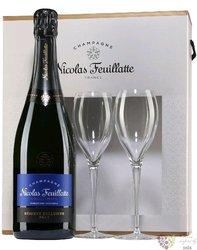 """Nicolas Feuillatte blanc """" Réserve """" brut glass set Champagne Aoc  0.75  l"""
