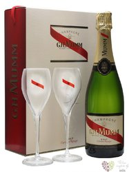 "G.H.Mumm blanc "" Cordon Rouge "" 2glass set brut Champagne Aoc  0.75 l"