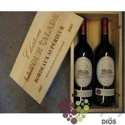Chateau la Tour Valade Bordeaux Superior Rouge AOC dvě lahve v dřevěné krabici 2 x 0.75 l