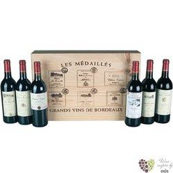 Les Medailles de Grand Bordeaux kolekce 6 vyjímečných lahví vína v dřevěném boxu   6 x 0.75 l
