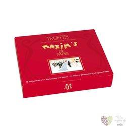 Maxim´s de Paris 12 pcs Champagne and Cognac Truffles luxury chocolate in red box 140g