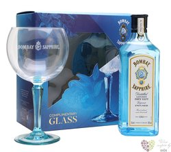 "Bombay "" Sapphire "" glass set premium London dry gin 40% vol.  0.70 l"