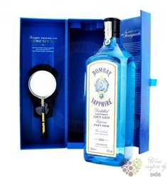 """Bombay """" Sapphire """"with magnifier premium London Dry gin 40% vol.     1.00 l"""