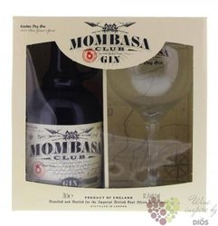 Mombasa Club glass set English dry gin 42% vol.  0.70 l