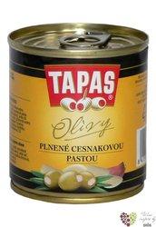 """Španělské olivy """" Tapas """" zelené plněné česnekovou pastou v plechovce Loreto Food    200 g"""