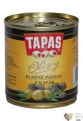 """Španělské olivy """" Tapas """" zelené plněné pastou z kaparů v plechovce Loreto Food200 g"""