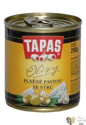 """Španělské olivy """" Tapas """" zelené plněné sýrovou pastou v plechovce Loreto Food200 g"""