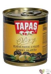 """Španělské olivy """" Tapas """" zelené plněné paprčkou Jalapeňo v plechovce Loreto Food    200 g"""