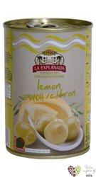 """Španělské olivy """" La Explanada """" zelené plněné citronem v plechovce Aceitunas Cazorla   280g"""