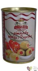"""Španělské olivy """" La Explanada """" zelené plněné červenou paprikou v plechovce Aceitunas Cazorla  280g"""