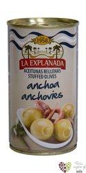 """Španělské olivy """" La Explanada """" zelené plněné ančovičkami v plechovce Aceitunas Cazorla   360 g"""
