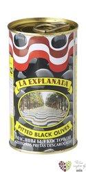 """Španělské olivy """" La Explanada """" černé bez pecky v plechovce Aceitunas Cazorla 360g"""