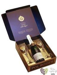 "Pol Roger blanc "" Réserve "" brut 2 glass set Champagne Aoc  0.75 l"