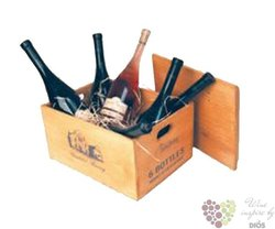 Dřevěná bedna na 6 lahví vína s dřevitou vlnou s motivem vinařství Tanzberg v Bavorech