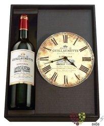 """Dárková kolekce """" Bordeaux time """" francouzské víno s nástěnými hodinami     1 x0.75 l"""