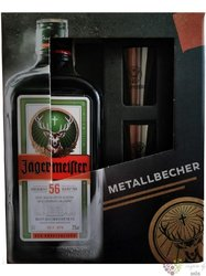 Jagermeister 2 steel shots pack original German herbal liqueur 35% vol.  0.70 l