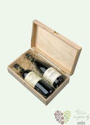 Dřevěná dárková krabice s motivem vinařství Reisten na dvě lahve