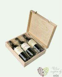 Dřevěná dárková krabice s motivem vinařství Reisten na tři lahve