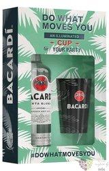 "Bacardi "" Carta blanca "" illuminated cup set white Cuban rum 37.5% vol.  0.70 l"