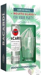 "Bacardi "" Carta blanca "" glass set white Cuban rum 37.5% vol.  0.70 l"