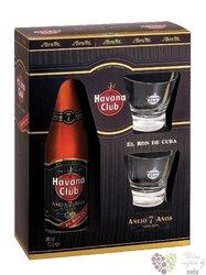 "Havana club "" Aňejo 7 Aňos "" 2 glass gift pack aged Cuban rum 40% vol.   0.70 l"